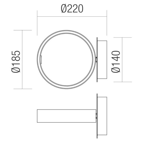 Schita aplica Redo Atomo LED 185mm