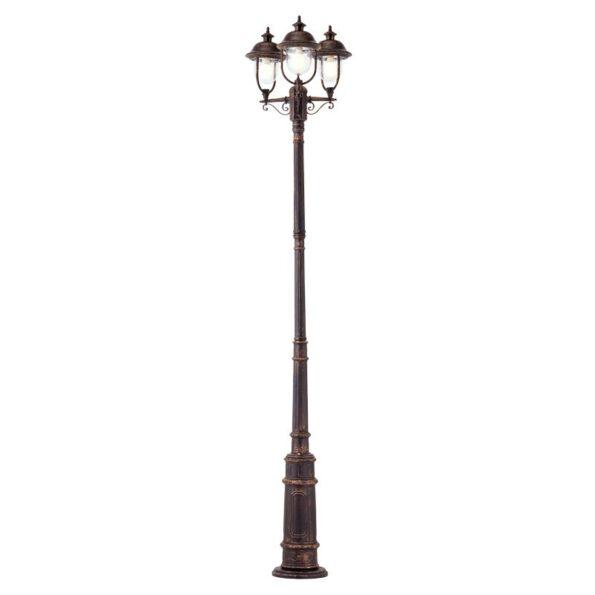 Stâlp iluminat exterior cu 3 brațe Redo VERONA, patina cupru, ø3059mm