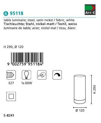 Veioza Lampa de masa EGLO PASTERI 95118 alb-satin