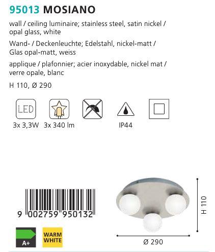 Aplica Plafoniera baie LED Eglo MOSIANO 95013 alb-nichel
