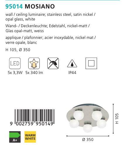 Aplica Plafoniera baie LED Eglo MOSIANO 95014 alb-nichel