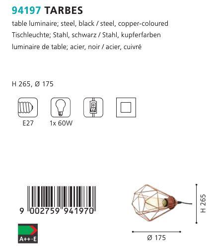 Veioza Lampa Eglo TARBES 94196 cupru 60W