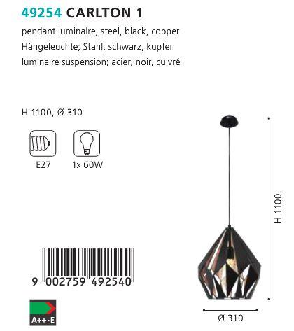 Pendul-Eglo-CARLTON-49254-310mm-negru-cupru