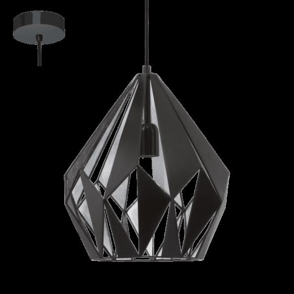 Pendul Eglo CARLTON 60W, Ø310mm, negru-argintiu