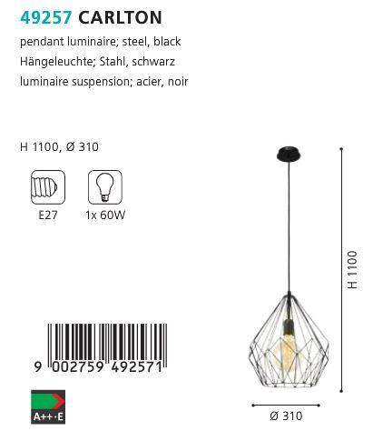 Pendul-Eglo-CARLTON-49257-310mm-negru