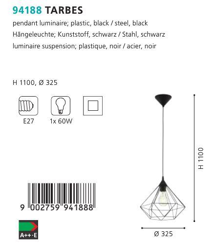 Pendul-Eglo-TARBES-94188-negru-60W