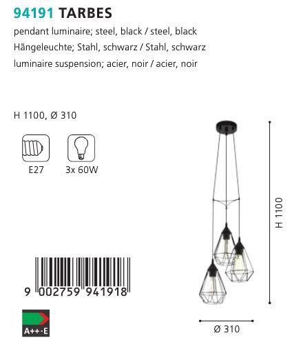 Suspensie Lustra Eglo TARBES 94191 negru 180W