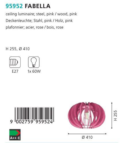 Plafoniera Eglo FABELLA 95952 roz