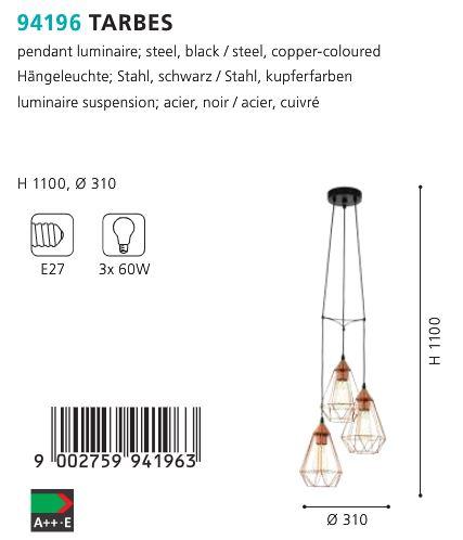 Suspensie-Lustra-Eglo-TARBES-94196-cupru-180W