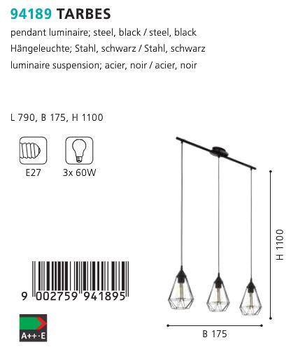 Suspensie-Eglo-TARBES-94189-negru-60W
