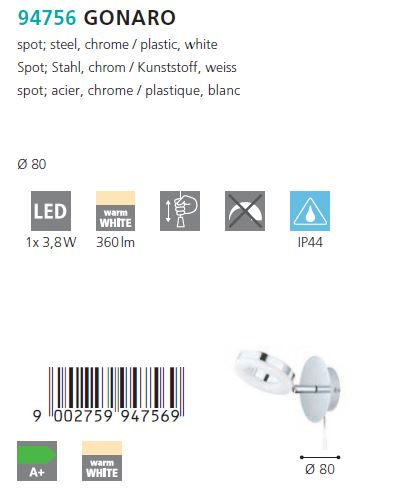 Aplica spot LED Eglo GONARO 94756