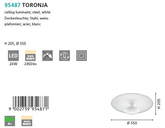 Plafoniera LED Eglo TORONJA 95487, alb