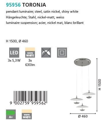 Suspensie LED Eglo TORONJA 95956 alb-nichel