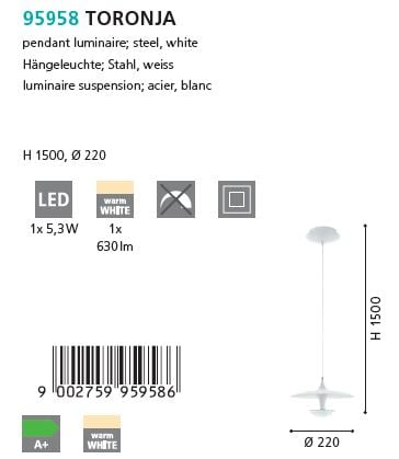 Pendul LED Eglo TORONJA 95958 alb