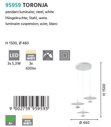 Suspensie LED Eglo TORONJA 95959 alb
