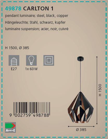 Pendul Eglo CARLTON 49878 385mm negru-cupru