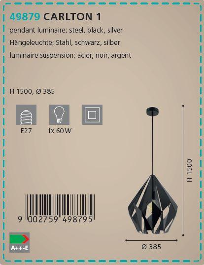 Pendul Eglo CARLTON 49879 385mm negru-argintiu