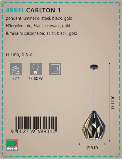 Pendul Eglo CARLTON 44931 310mm negru-auriu