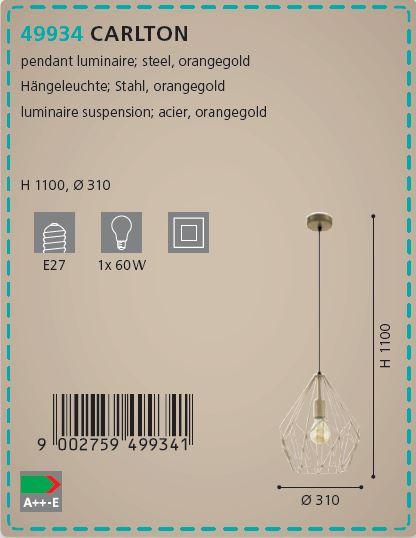 Pendul Eglo CARLTON 49934 310mm auriu-roscat