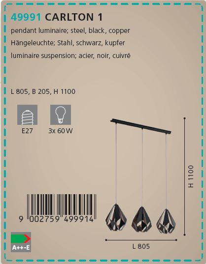 Suspensie 3 becuri Eglo CARLTON 1 49991, negru-cupru