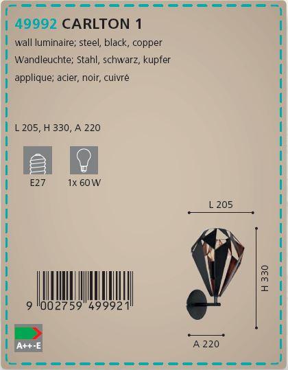 Aplica de perete Eglo Carlton 49992 negru-cupru