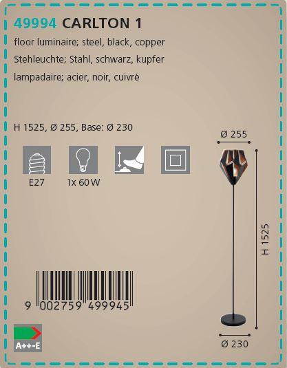 Lampadar Eglo CARLTON 1 49994 negru-cupru
