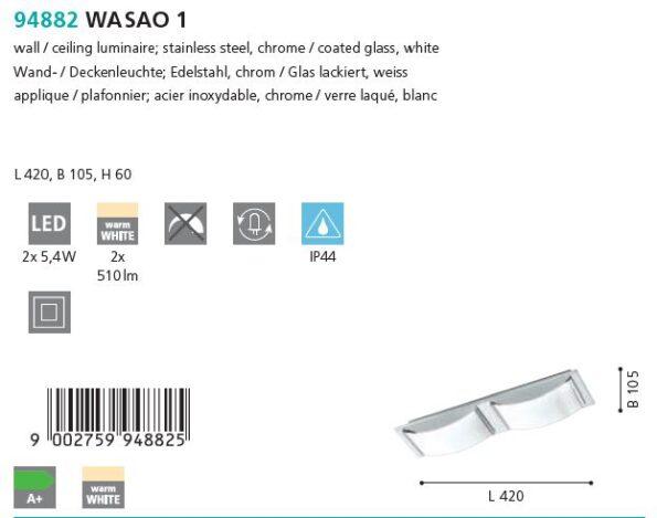 Plafoniera Aplica LED Eglo WASAO 1 94882 crom