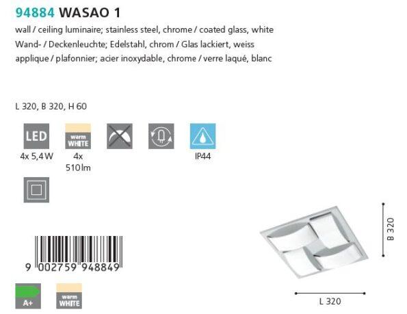 Plafoniera Aplica LED Eglo WASAO 1 94884 crom