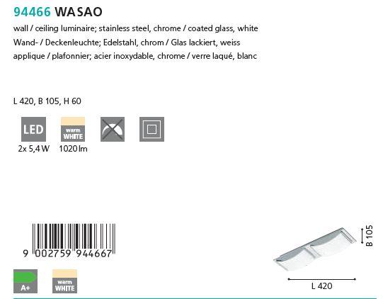 Plafoniera Aplica LED Eglo WASAO 94466 crom_schita
