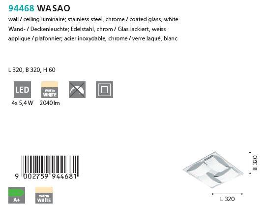 Plafoniera Aplica LED Eglo WASAO 94468 crom_schita