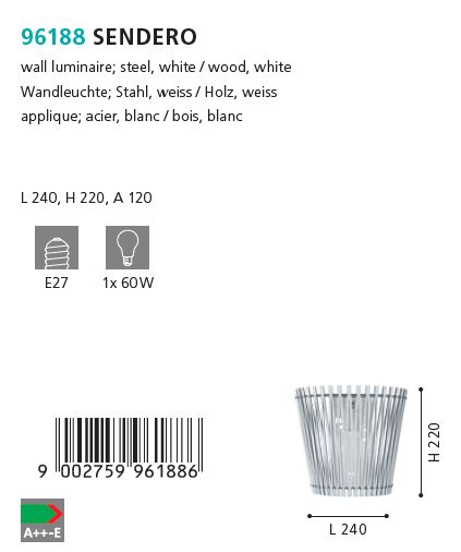 Aplica de perete Eglo SENDERO 96188 alb