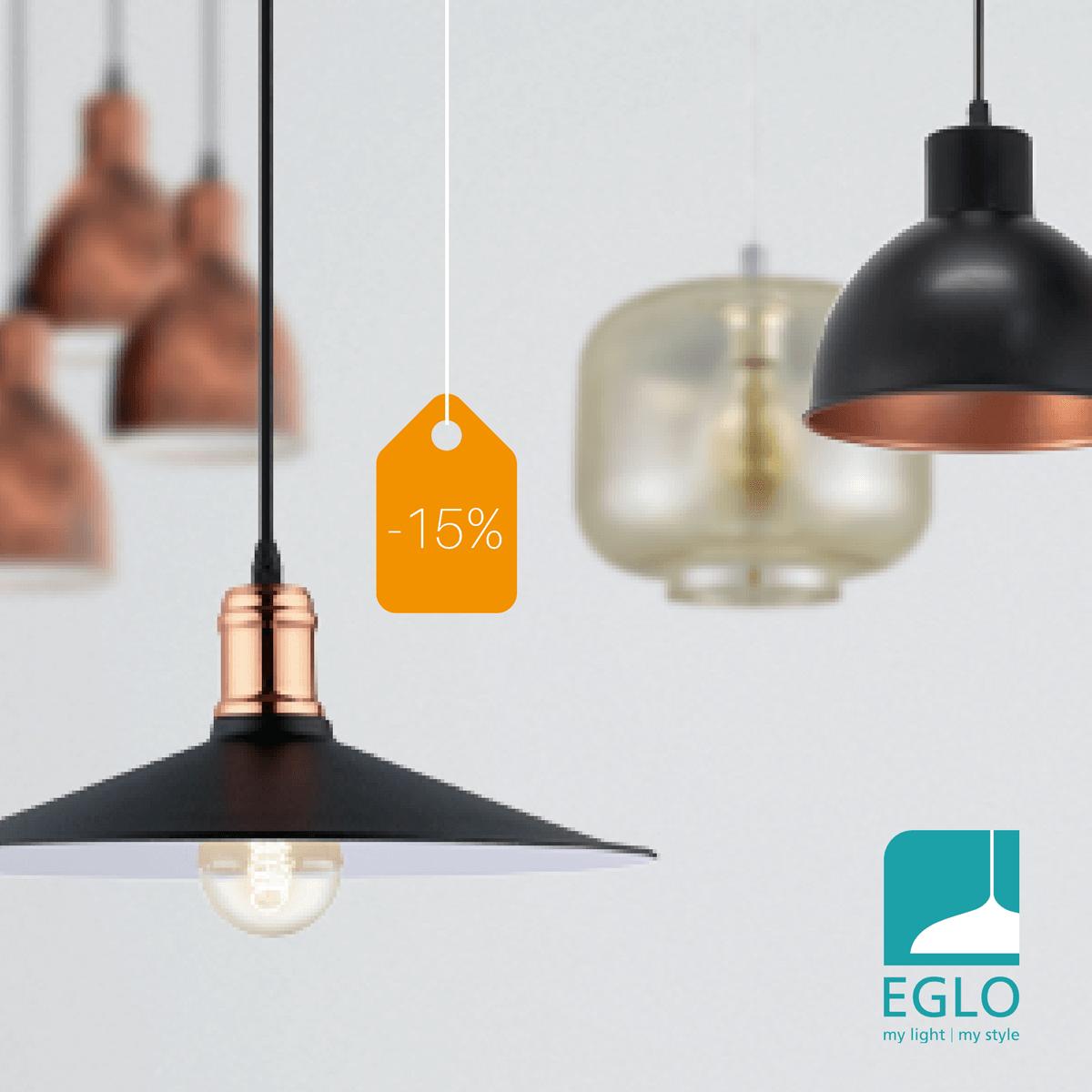 15% discount pentru toată gama de corpuri de iluminat EGLO
