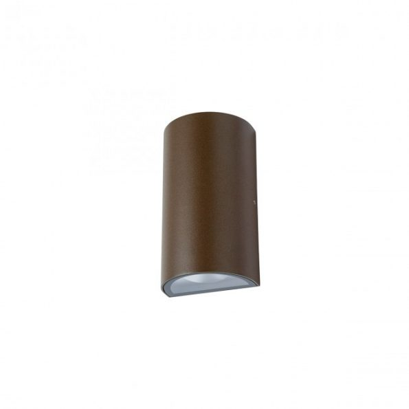 Aplica exterior LED 12W Redo ZIP 9524, distributie luminoasa directa-indirecta, maro inchis