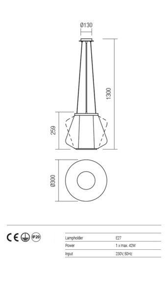 Suspensie interior sticla fumurie ø300mm Redo FUSION 01-1139