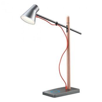 Lampa birou LED Redo FOX 01-1119 cu USB si touch dimmer, argintiu