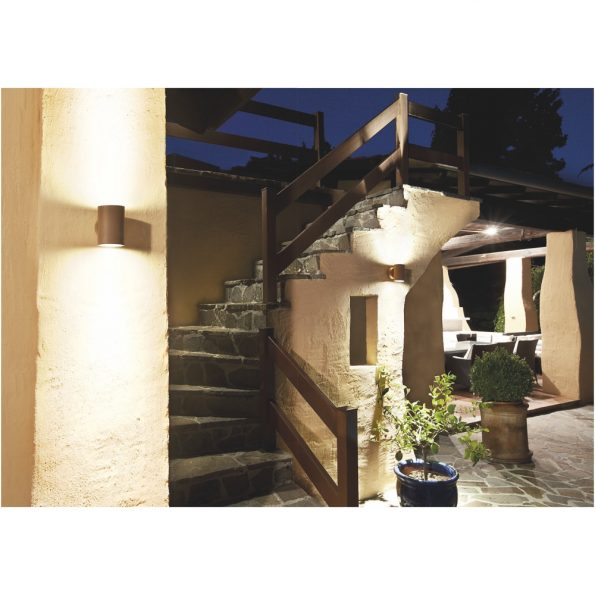 """Redo MINIROUND - Aplică pentru exterior, echipată cu LED-uri, dispersie luminoasă directă/indirectă cu efect de lumină """"wall washer""""."""