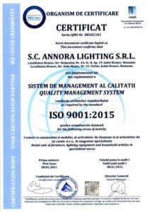 Certificat ISO - Annora Lighting SRL